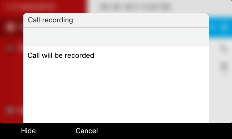 Call will be recorded screen shot
