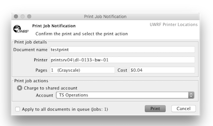 PaperCut print job notification and account selection dialog